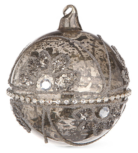 CHRISTMAS Antique-style silver pewter glass bauble 8cm
