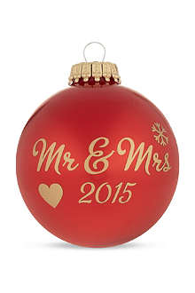 SANTA BALLS Mr and Mrs 2014 red bauble