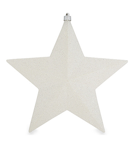 HANGING ORNAMENT Snow glitter star decoration 22cm