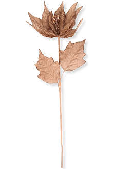 KURT ADLER Natural brown burlap poinsettia stem 18cm