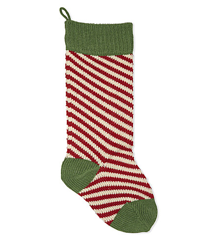 HANGING ORNAMENT Striped knitted stocking