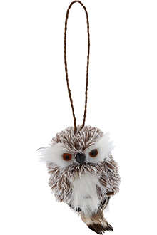 KURT ADLER Silver owl decoration 8cm