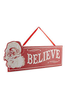 KURT ADLER Wooden 'believe' sign 39cm