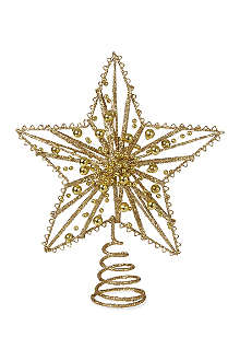KURT ADLER Trad 10in gold glitter wire star treetop