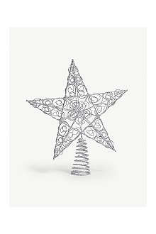 KURT ADLER Silver star tree topper 25cm