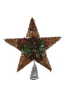 KURT ADLER Rattan star treetopper