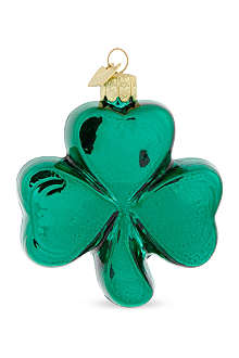 KURT ADLER Glass shamrock ornament 8.5cm