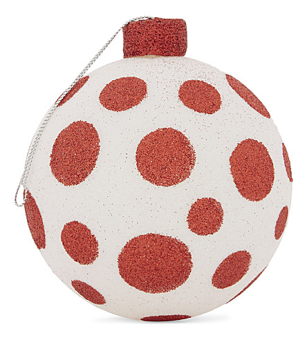 HANGING ORNAMENT Polka dot glitter bauble 10cm