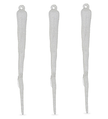 HANGING ORNAMENT Glitter icicle decorations 24 pieces 11.5cm