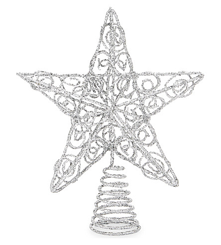 HANGING ORNAMENT Glitter star Christmas tree top ornament 18cm