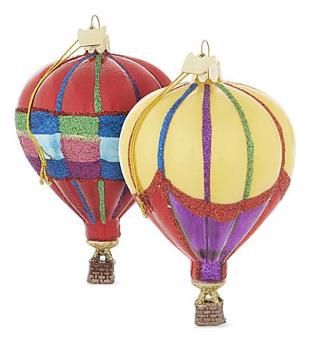 HANGING ORNAMENT Hot air balloon Christmas decorations set of three 10cm