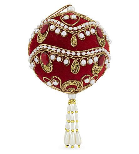 HANGING ORNAMENT Embellished tassel bauble 16cm