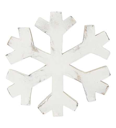 COACH HOUSE Large white wooden snowflake