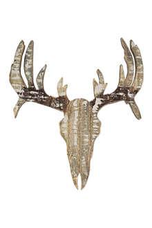 COACH HOUSE Wooden deer head wall plaque 60cm