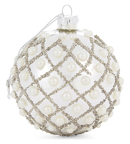 BAUBLE Pearl encrusted bauble 10cm