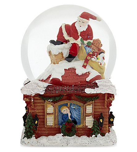HANGING ORNAMENT Santa on roof musical snow globe