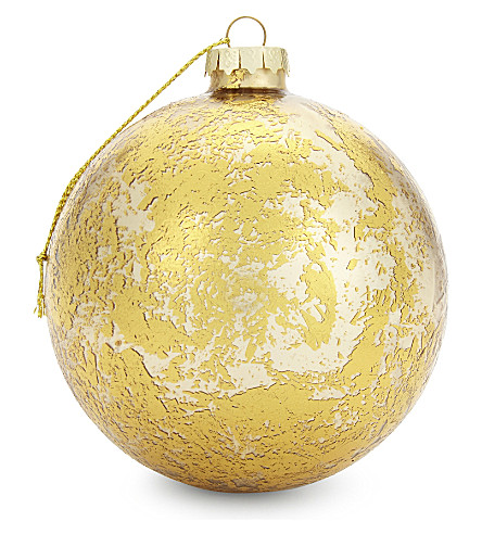 HANGING ORNAMENT Cracked metallic glass bauble