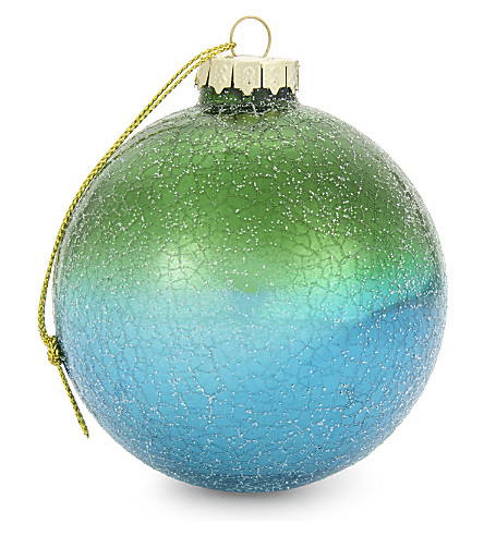 HANGING ORNAMENT Crackled rainbow glass baubles 6-pack