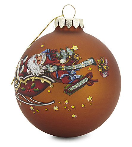 HANGING ORNAMENT Santa and reindeer glass hanging decoration 9cm