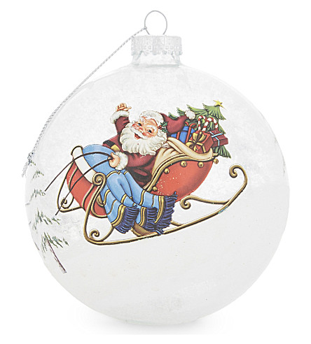 HANGING ORNAMENT Santa's sleigh glass Christmas decoration 10.5cm
