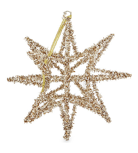HANGING ORNAMENT Tinsel star Christmas decoration 15cm