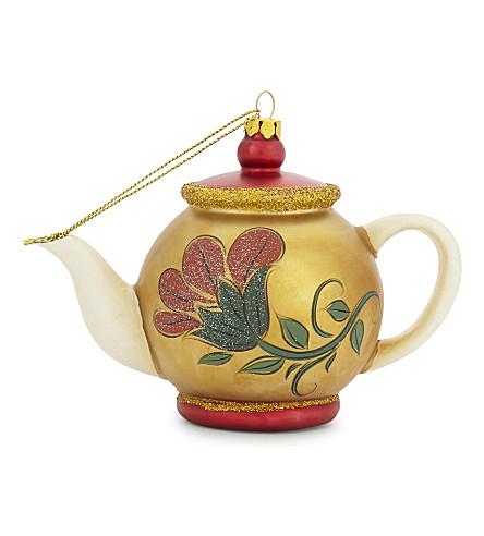 HANGING ORNAMENT Floral teapot hanging decoration 10cm
