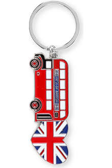 CHRISTMAS Bus and Union Jack heart key ring