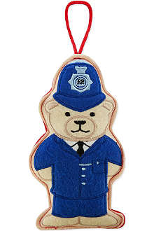 ELGATE Policeman bear felt tree decoration