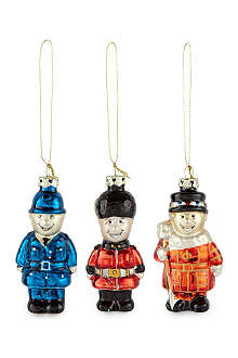ELGATE Pack of 3 London characters glass baubles