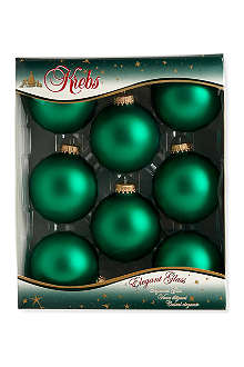KREBS GLAS LAUSCHA Pack of eight green baubles 7cm