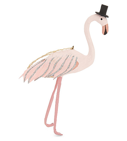 HANGING ORNAMENT Top hat flamingo decoration 15cm