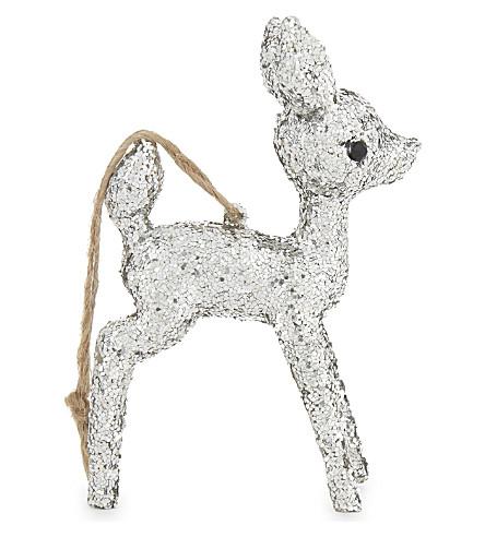 HANGING ORNAMENT Glitter reindeer hanging decoration 11cm