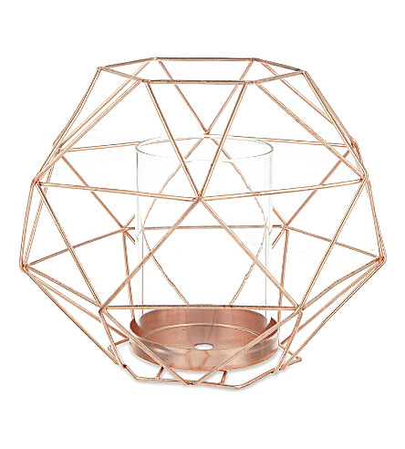 BLOOMINGVILLE Copper votive with glass candleholder