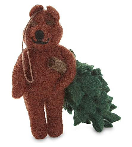HANGING ORNAMENT Bear with Christmas tree decoration 14cm
