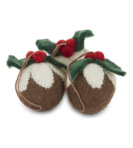 HANGING ORNAMENT Felt Christmas pudding decorations three pieces 5cm