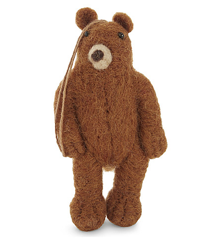 HANGING ORNAMENT Grizzly bear felt tree decoration 11cm