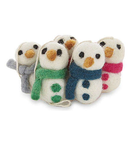 HANGING ORNAMENT Mini snowmen decorations five pieces 4.3cm