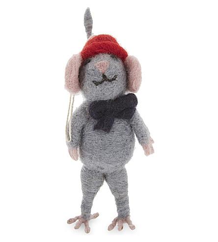 HANGING ORNAMENT Beanie hat mouse decoration 13cm