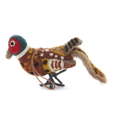 HANGING ORNAMENT Pheasant felt tree decoration 14cm