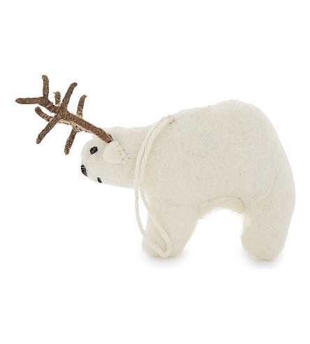 HANGING ORNAMENT Polar bear with antlers decoration 10.5cm