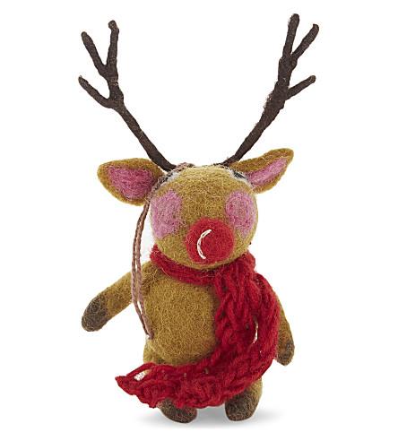 HANGING ORNAMENT Knitted scarf reindeer decoration 11cm
