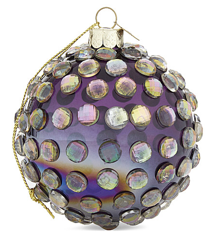 HANGING ORNAMENT Embellished mirrored bauble 8cm