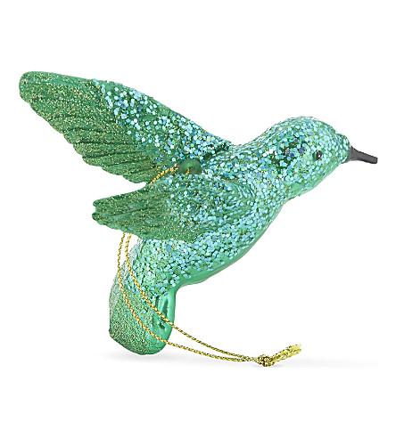 HANGING ORNAMENT Glitter hummingbird hanging decoration 9cm