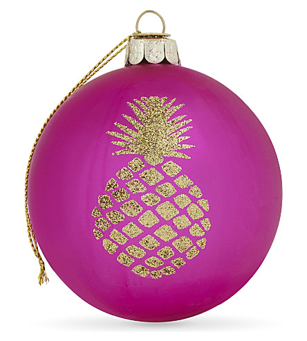 HANGING ORNAMENT Glitter pineapple glass bauble 8cm