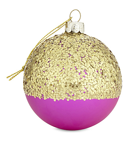 HANGING ORNAMENT Fuchsia glitter bauble 8cm