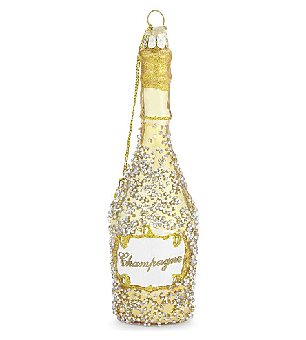 HANGING ORNAMENT Champagne bottle bauble 15cm