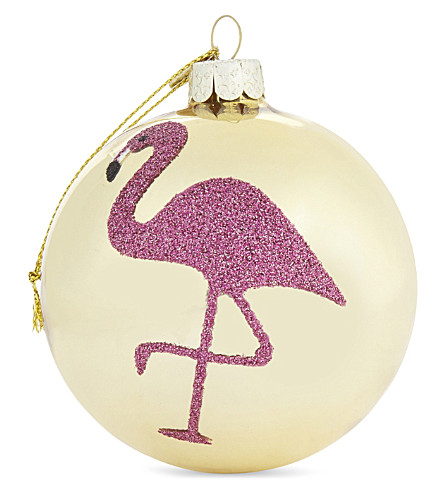 HANGING ORNAMENT Glitter flamingo bauble 8cm