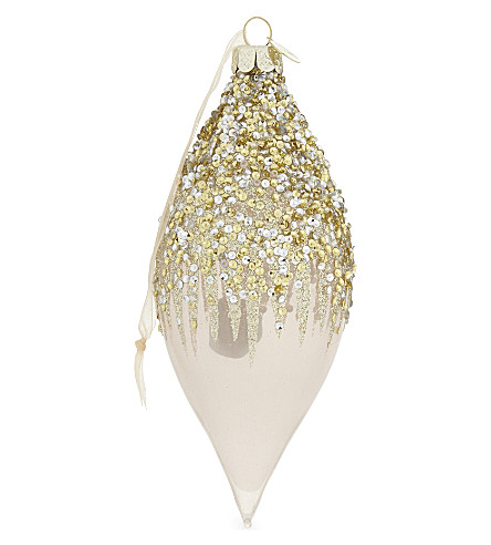 HANGING ORNAMENT Olive icicle bauble 17cm