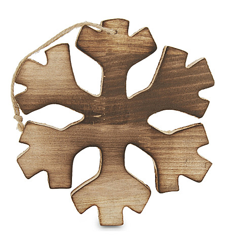 HANGING ORNAMENT Enc 15 x 16cm wood snowflake