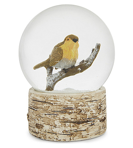 ORNAMENT Robin snow globe 15.5cm